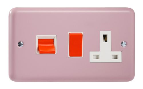 Varilight XY45PW.RP Lily Pastel Rose Pink 45A DP Cooker Switch + 13A Switched Socket